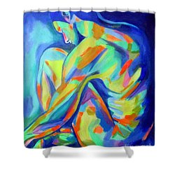Glowing Silent Figure Shower Curtain