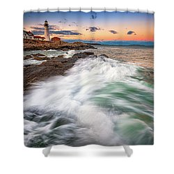 Shower Curtain featuring the photograph High Tide At Dusk by Rick Berk
