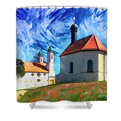 Shower Curtain featuring the digital art Kalvarienberg by Edmund Nagele