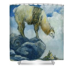 Llama And The Castle Shower Curtain