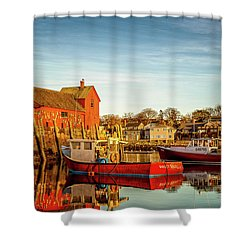 Low Tide And Lobster Boats At Motif #1 Shower Curtain