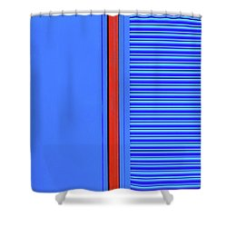 Blue With Red Stripe Shower Curtain