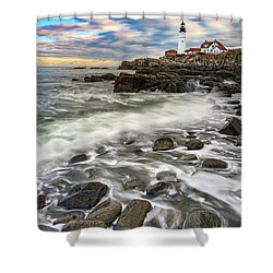 Shower Curtain featuring the photograph Rising Tide At Portland Head by Rick Berk