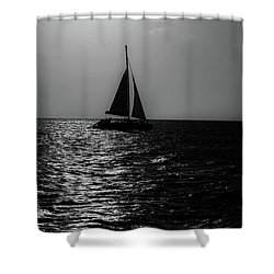 Sailing Into The Sunset Black And White Shower Curtain