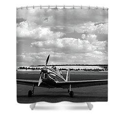 Silver Airplane Duxford England Shower Curtain