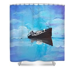 Shower Curtain featuring the painting Sinking Ship  by Jennah Lenae