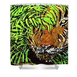 Tiger In Bamboo Shower Curtain