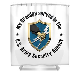 U. S.  Army Security Agency -  A S A  Patch Over White Leather Shower Curtain