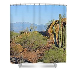 Shower Curtain featuring the photograph View To Four Peaks  by Lynda Lehmann