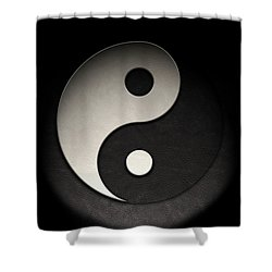 Yin Yang Symbol Leather Texture Shower Curtain