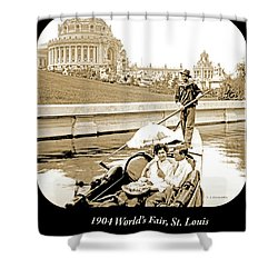 1904 Worlds Fair, Sighteeing Boat, Oarsman And Couple Shower Curtain