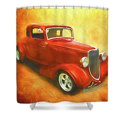 1934 Ford On Fire Shower Curtain