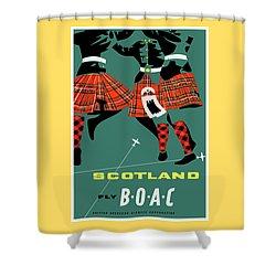 1963 Scotland Highland Dancers Boac Vintage Travel Poster Shower Curtain