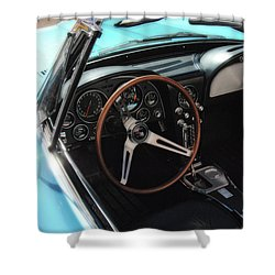 Shower Curtain featuring the photograph 1965 Chevrolet Corvette Convertible - Driver Side by Angie Tirado