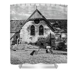 19th Century Sandstone Church In Black And White Shower Curtain