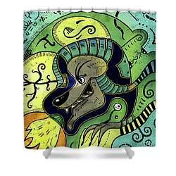 Shower Curtain featuring the digital art Anubis by Sotuland Art