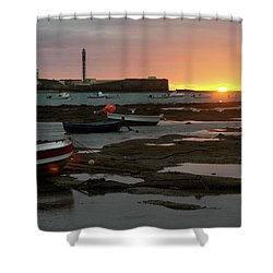 Shower Curtain featuring the photograph Beached Boats At Sunset Cadiz Spain by Pablo Avanzini