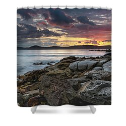 Colours Of A Stormy Sunrise Seascape Shower Curtain