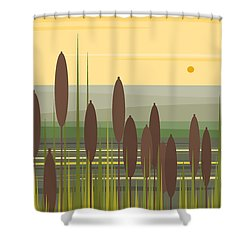 At Mountain Lake In The Morning Shower Curtain