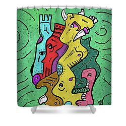 Shower Curtain featuring the digital art Psychedelic Animals by Sotuland Art