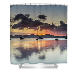 Overcast Morning On The Bay With Boats Shower Curtain