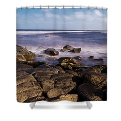 Shower Curtain featuring the photograph View Of Cloudy Bay In Bruny Island, Tasmania, Australia. by Rob D