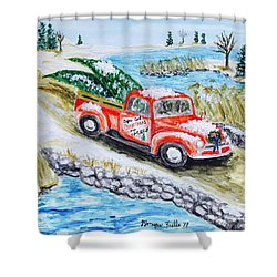 A Cape Cod Christmas Shower Curtain