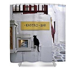 A Curious Cat In Mykonos Shower Curtain