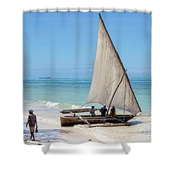 Shower Curtain featuring the photograph A Dhow In Zanzibar by Kay Brewer