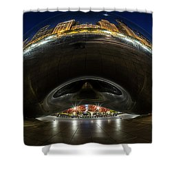 A Fisheye Perspective Of Chicago's Bean Shower Curtain
