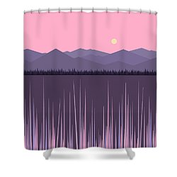 A Lake In The Mountains -  Pink Sky Shower Curtain