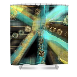 A Light Beams In Gold Brown And Blue Shower Curtain