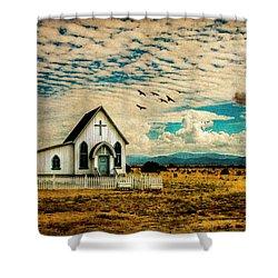 A Lone Prairie Church Shower Curtain
