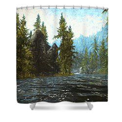 A River Flows Thru It Shower Curtain