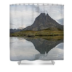 Shower Curtain featuring the photograph A Still Evening At Lac Du Miey by Stephen Taylor
