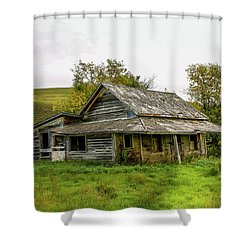 Abondened Old Farm Houese And Estates Dot The Prairie Landscape, Shower Curtain
