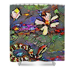 Abstract Art Copperhead Snake And Lotus Shower Curtain