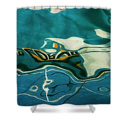 Shower Curtain featuring the photograph Abstract Boat Reflection V Color by David Gordon