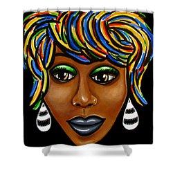 Abstract Art Black Woman Retro Pop Art Painting- Ai P. Nilson Shower Curtain