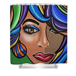 Abstract Woman Artwork Abstract Female Painting Colorful Hair Salon Art - Ai P. Nilson Shower Curtain
