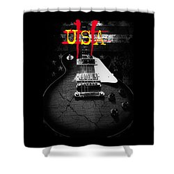 Abstract Relic Guitar Usa Flag Shower Curtain