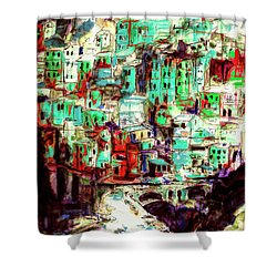 Abstract Riomaggiore Cinque Terre Art Shower Curtain