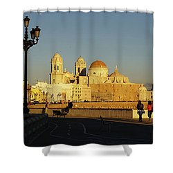 Shower Curtain featuring the photograph adiz Cathedral from Southern Field Spain by Pablo Avanzini