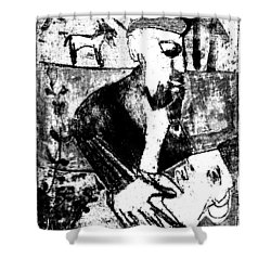 After Childish Edgeworth Black And White Print 26 Shower Curtain