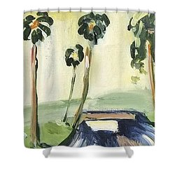 Shower Curtain featuring the painting Afternoon In The Park by Maria Langgle