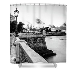 Shower Curtain featuring the photograph Alameda Apodaca Promenade Cadiz Spain Black And White by Pablo Avanzini