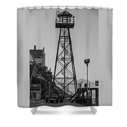 Shower Curtain featuring the photograph Alcatraz Light House by Stuart Manning