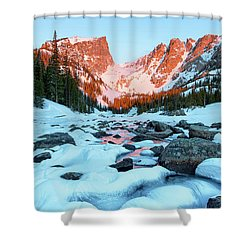 Shower Curtain featuring the photograph Alpenglow At Dream Lake Rocky Mountain National Park by Nathan Bush