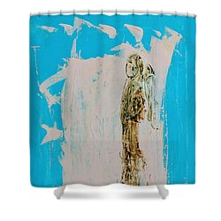 Angel With His Dog Wings Shower Curtain
