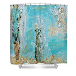 Angels Appear On Golden Clouds Shower Curtain